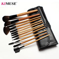 Kimuse cosmética profesional 12 unids maquillaje de cara cepillo conjunto con cuero negro bolsa compone cepillos Kit de baño de lana