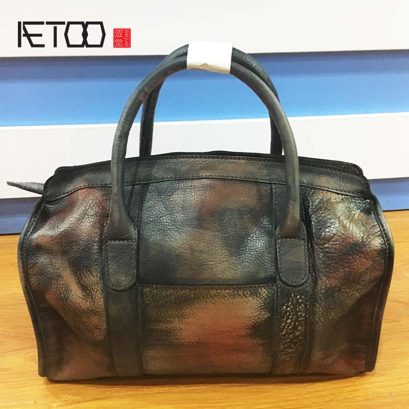 AETOO Imported first layer of leather Messenger bag retro hand-colored handbags tree skin upscale female bag fashion bag