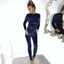Sweatsuits sudader бархат одежды синий осень зима набор костюм плюс размер
