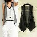Новый летний костюм воротник с лацканами женщин внешний жилет талии жилет большой размер короткие весной и autumn-do776