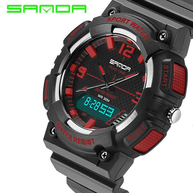 Sanda tempo relógio do esporte ao ar livre relógios g estilo 30 m alarme led digital de choque à prova d' água relogio masculino de quartzo para homens relógio