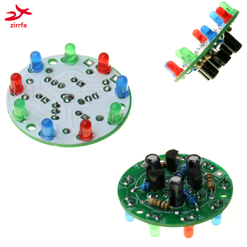 New Electronic Fun Multicolor LED DIY KIT Circular Lamp Flashing Light  Birthday Gift