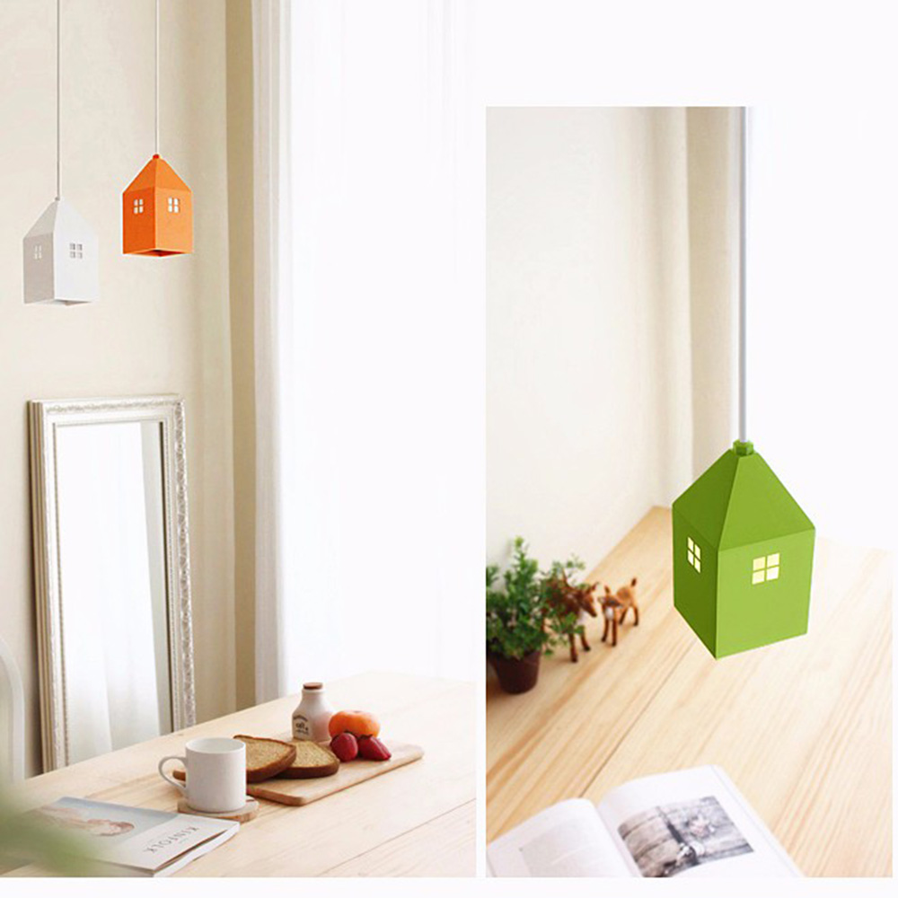 Hghomeart AC 90-265V kids Creative Mini House Countryside Cartoon Pendant Light For Childrens Bedroom Living Room Kindergarten