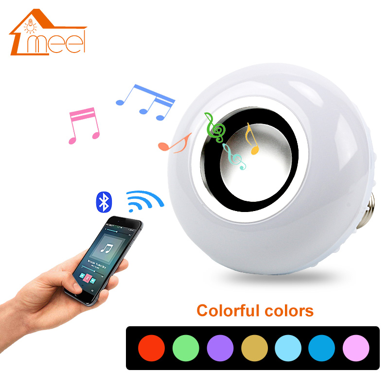 E27 LED Bulb 12W RGB Music Playing Dimmable Wireless Bluetooth Bulb Colorful Audio Speaker Light Lamp with 24 Key Remote Control