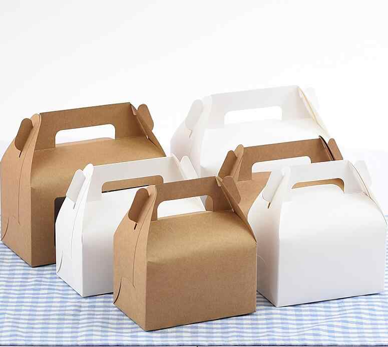 16.2x9.2x8cm kraft Cake Food kraft Paper Box With Handle Boxes Christmas birthday Party candy Gifts Packaging boxes