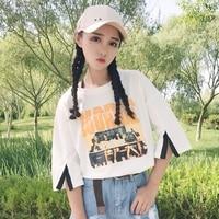 Yaz Üstleri Kore Ulzzang Harajuku Kadınlar Için Manşet Bölünmüş Kişilik Retro Baskılı Kısa Kollu T-shirt Rahat O-Boyun T-Shirt