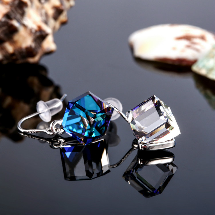 HTB1FF Xbv1H3KVjSZFBq6zSMXXas Warme Farben Crystal from Swarovski 925 Silver Earrings Drop Earring Square Cube Dangle Earring Fine Jewelry Gift Lady Brincos