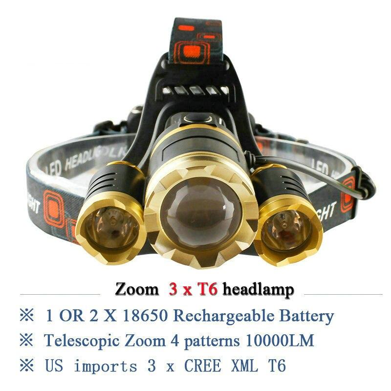 3T6 CREE XML T6 headlamp led headlights <font><b>10000</b></font> lumens head lamp camp hike emergency <font><b>light</b></font> fishing outdoor equipment lantern