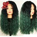 Fashion Ombre Black Green Color Hair Curly Wig Heat Resistant Afro Kinky Curly Wig Synthetic Lace Front Wigs For Women