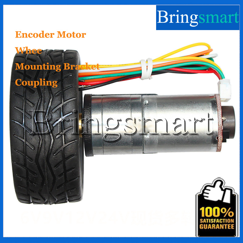 Mini Gear Motor 12V DC Motor Encoder 18-1930rpm/min With Wheel Mounting Bracket Shaft Coupling Use For Robot Electronic DIY wholesale bringsmart 37mm diameter gear motor mounting bracket with screw shaft coupling for diy car use fixed motor bracket