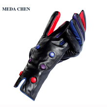 2017 winter Fashion leather gloves Cotton Lined Genuine Leather Adult women leather gloves