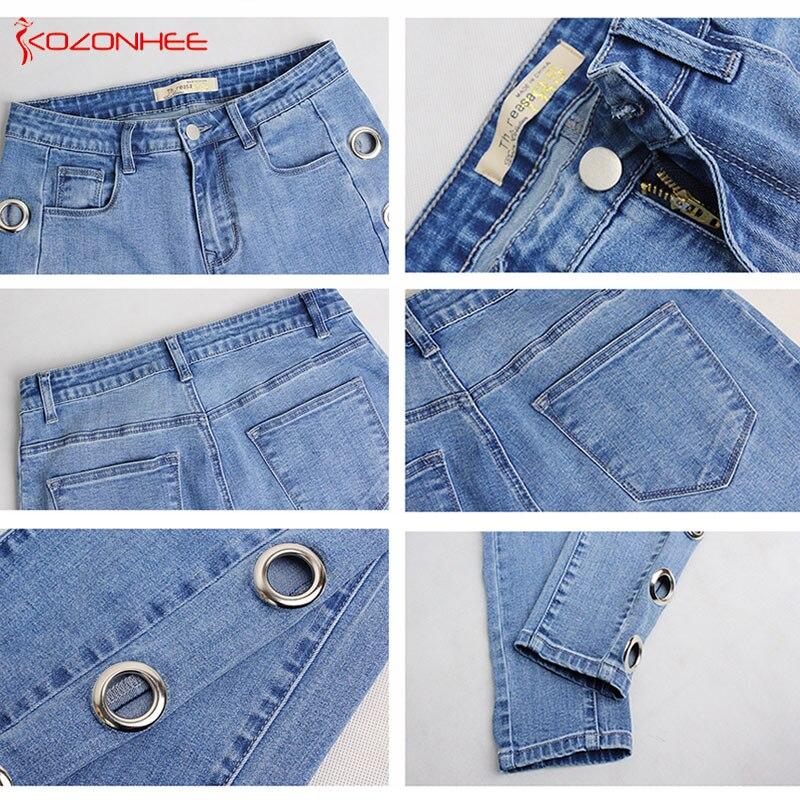 Plus Größe Elastische Seite Loch Jeans Für Frauen Mit Hoher taille ... 8207ade833