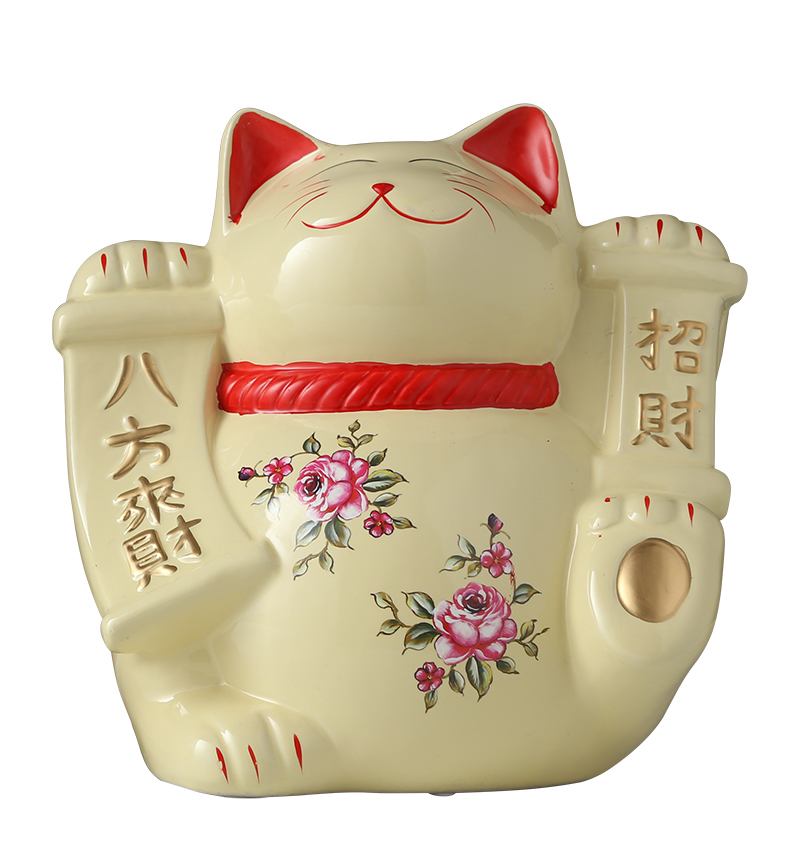 Mignon Japonais Chanceux Chat Porcelaine Artisanat Japon Plutus Chat Tirelire Maneki Neko Céramique Chanceux Chat Décor À La Maison Ornements En Porcelaine