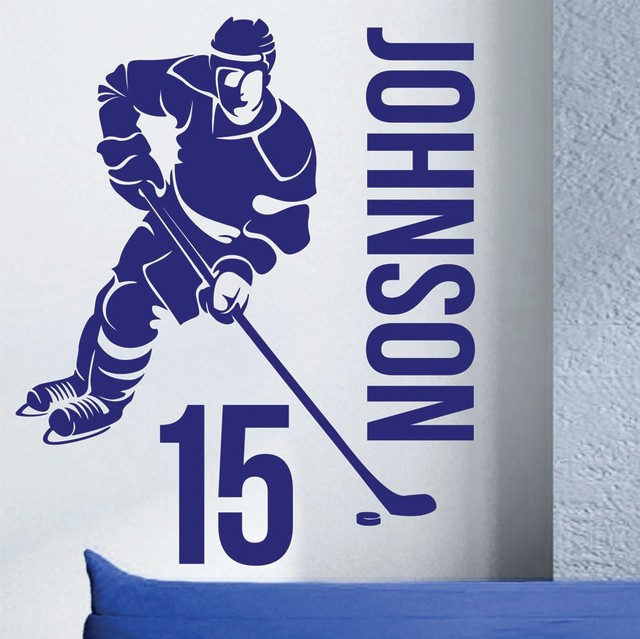 Custom made name number hockey player vinyl wall decals art mural wall stickers for kids