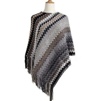 Knitwear Female Irregular Oblique Wave Stripe Tassel Sweater Female Sleeve Loose Casual Cloak Cape Women's Sweater 4