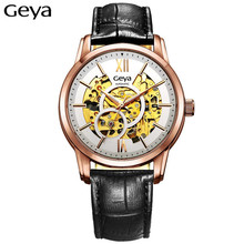 real gold mens watches online shopping the world largest real gold geya mechanical watches gold hollow automatic self wind real leather strap fashion luxury men wrist