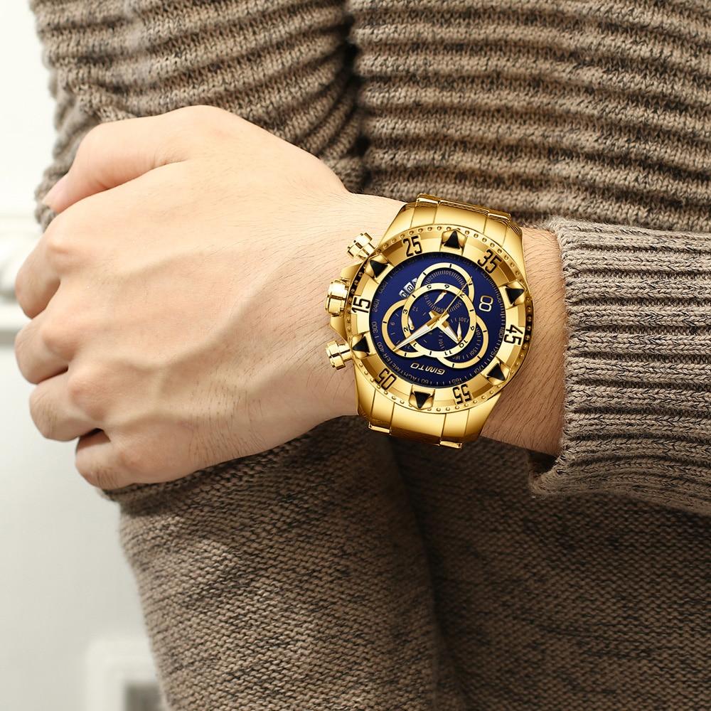 2018 Top Marque De Luxe Montres Hommes D'affaires Or Acier Horloge Quartz Étanche Sport Militaire Mâle Montre-Bracelet Relogio Masculino