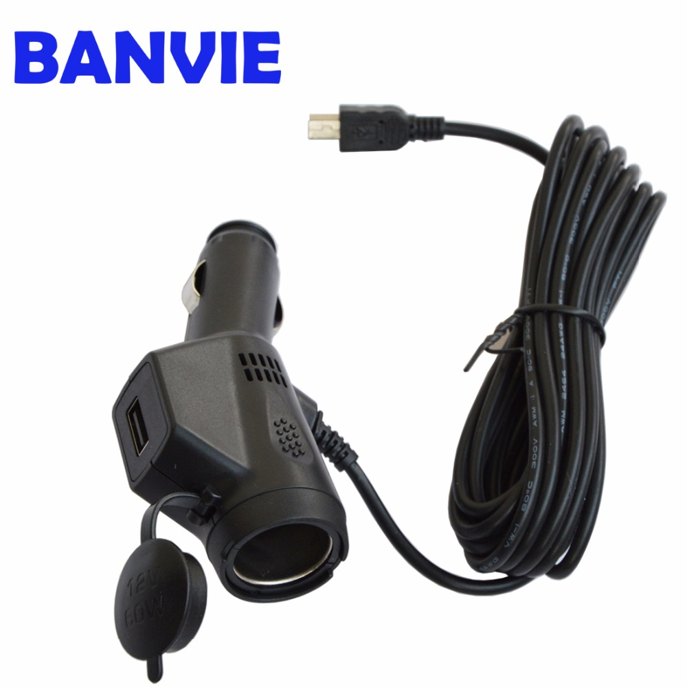 BANVIE DC 5V 3A Dual USB Car Cigarette Lighter Charger Adapter For Vehicle DVR Charging with 3.5m Cable Mini / Micro USB Port