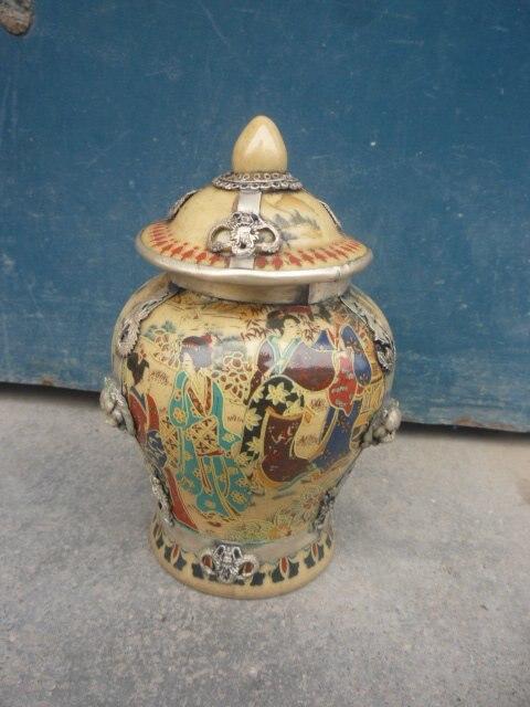 Belle porcelaine Pastel et Pot en argent de la dynastie qingjar, Portrait d'une dame, avec marque, livraison gratuite