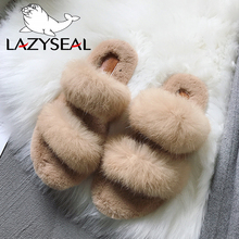 LazySeal Fur Women Slippers Shoes Rabbit Fur Slippers Real Hair Slides Female Furry Indoor Flip Flops Fluffy Plush Shoes House