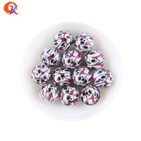 20MM 100Pcs/Lot Matte Pearl With Skull Printing Bead For Halloween Holiday Beaded Accessories KQWB-701290