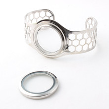 30mm Screw Stainless Steel Floating Locket Bangles Memory Openable Bracelets For Women 5pcs