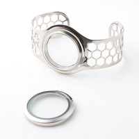 30mm Screw Stainless Steel Floating Locket Bangles Floating Memory Locket Openable Bracelets For Women 5pcs