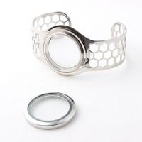30mm Screw Stainless Steel Floating Locket Bangles Floating Memory Locket Openable Bracelets For Women 5pcs