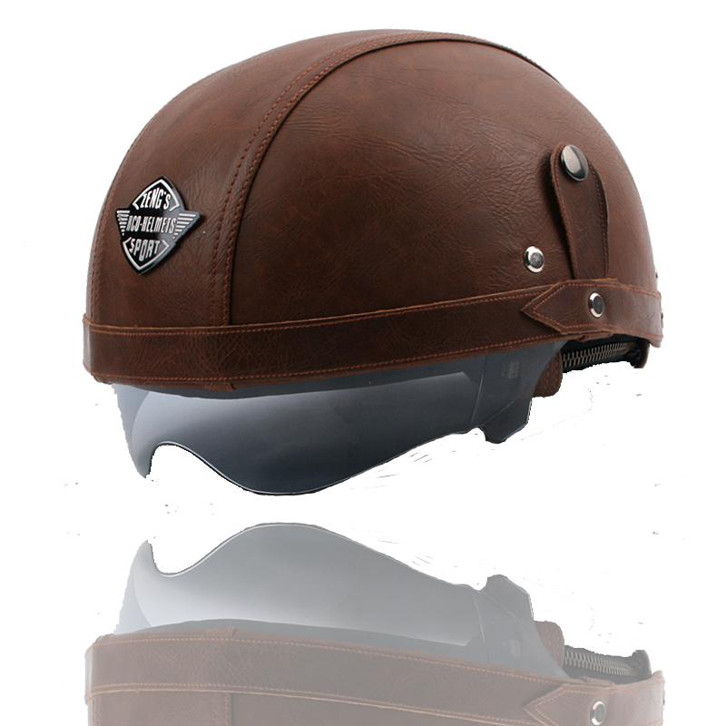 motocross KCO Manual customization Motorcycle Scooter Half Face Leather Halley helmet Classic Retro helmets & free Goggles