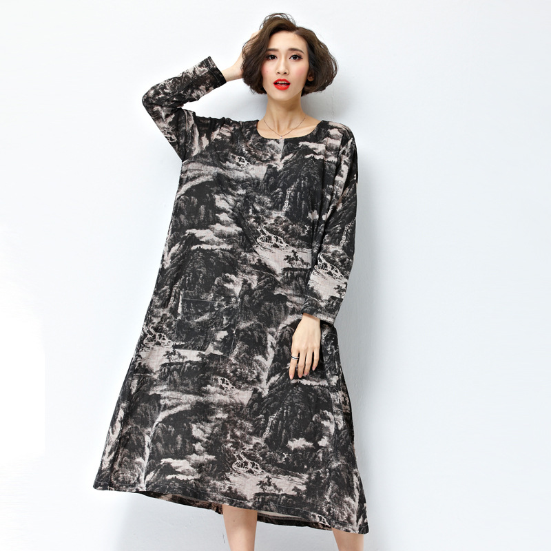 Pregnant Women Dress 2017 Vintage Floral Print Dresses Batwing Long Sleeve Pockets Casual Loose Vestidos Plus Size CE930