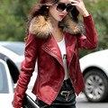 2017 nova reais clothing primavera e outono colarinho de lã jaqueta de couro das mulheres do sexo feminino projeto de pele de carneiro de algodão mais fino casaco tamanho