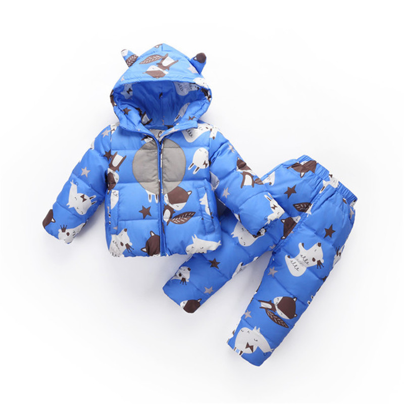 2018 Winter Boys Girls Clothing Sets Toddlers 2Pcs White Duck Down Jackets+Pants Children Sets kids Snow Warm Suit Costume P196 honeyking 2pcs child waterproof boys girls clothing sets double layer boys girls jackets rain pants kids hooded raincoat suit