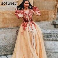 Champion Long Sleeve Evening Dresses Red Appliques Saudi Arabic Muslim Special Occasion Robe De Soiree Dubai Plus Size