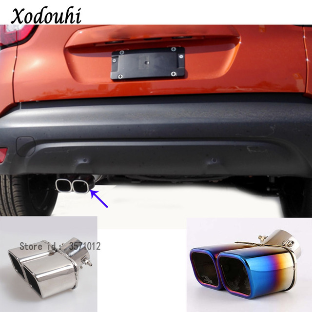 US $26 99 13% OFF|For Renault Captur 2015 2016 2017 car cover muffler  exterior end pipe dedicate stainless steel exhaust tip tail moulding  outlet-in