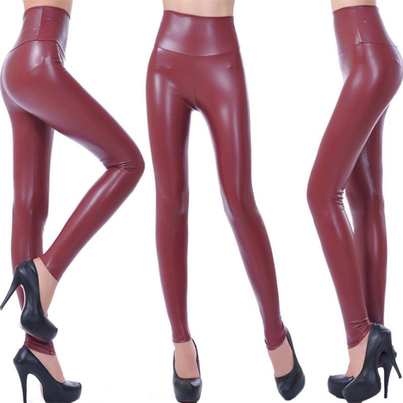VISNXGI High Waist Faux Leather Leggings Women Hot Sexy Black Faux Leather Leggings Shiny Pants Stretchy Plus Size Trousers 2019-in Leggings from Women's Clothing
