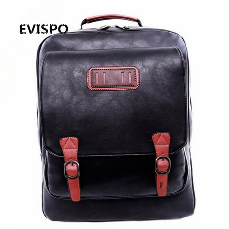 ФОТО  Men's Backpack PU Leather Laptop Shoulder Bags Multi-pocket soft leather Male black backpack Preppy Style zipper School Bag