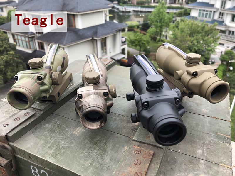 Hunting Riflescope Trijicon ACOG 1X32 Real Fiber Optics Red Dot Illuminated Chevron Glass Etched Reticle Tactical Optical Sight