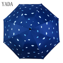 YADA Black Flowers Charms Folding Umbrella Rain Women uv High Quality For Womens brand Windproof Custom Umbrellas YS111