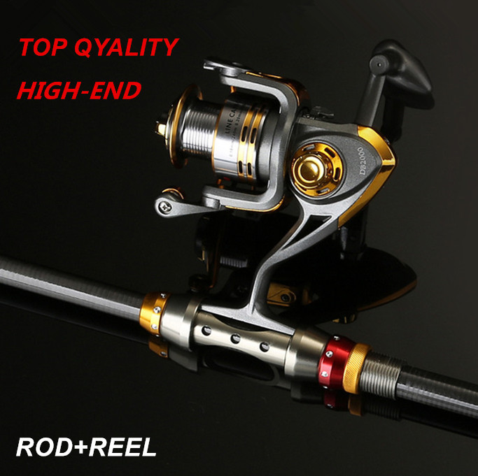 ФОТО Lure Rod Foldable Carbon Deep Sea Saltwater Fishing Rod Portable Travel Spinning Superhard Telescopic Rods and Metal Reels Set
