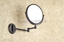 Bathroom Accessory Black Oil Rubbed Bronze Frame Arm Folding Wall Mounted Round Shape Makeup Shave Vanity Mirror Wba628