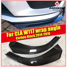CLA W117 Front Bumper Lip Spoiler Carbon fiber Fits For MercedesMB CLA180 200 250 CLA45AMG style Front Bumper Splitter 2014-2016 jdm sport style front bumper lip spoiler urethane for 95 96 mitsubishi eclipse