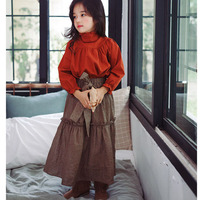 Cotton Maxi Long Skirts For Girls Clothing With Bow Autumn Spring Ankle Length Princess Teenage Little