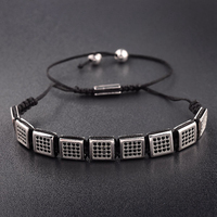 DOUVEI Luxurious Pave Setting Copper Bracelet Black Zircon Charm Men Beads Woven Bracelet Bangles For Women Gift Handmade