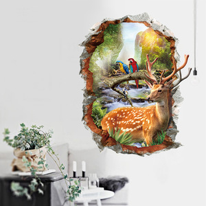 % cartoon animals Sika Deer parrot 3D Wall Stickers Natural Landscape Home Decorative Stickers Fake Window Landscape Wallpapers(China)