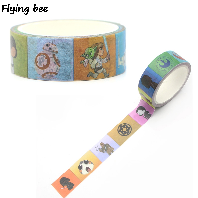 Flyingbee 15mmX5m Paper Tapes Handmade DIY Decorative Washi Tape Colored Cool Tapes X0267