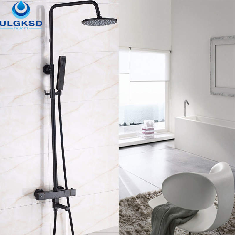 ULGKSD Wholesale And Retail Thermostatic Valve Black Shower Faucet LED 8 39