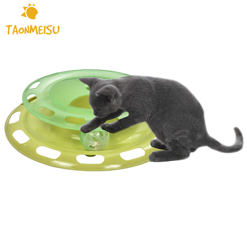 Rotatable Tracks Disc Toy for Cat Double layer Water Food