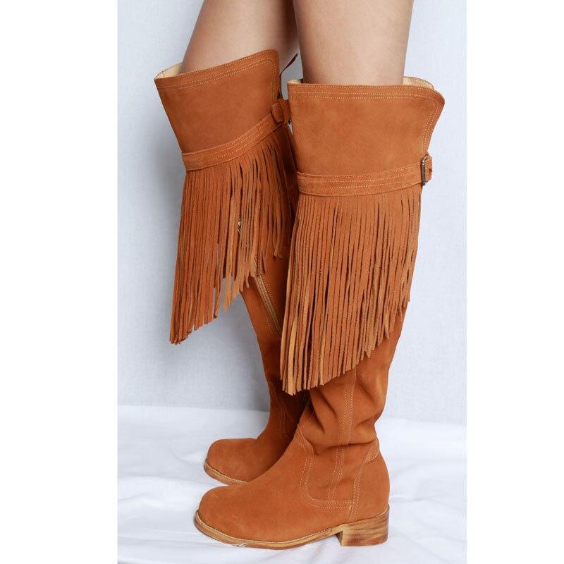 Haute Gland Dame Du Brun Bout Hauts Sexy Heel Bottes Boot Femmes En Le Brown Flat High brown À 2019 Fringe Boots Daim Talons Sur Genou Pointu cK3F1JTl