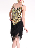 2018 hot Sale Sexy Ladies Party Cocktail Night Club Ballroom Latin Sequin Dress S M 1276
