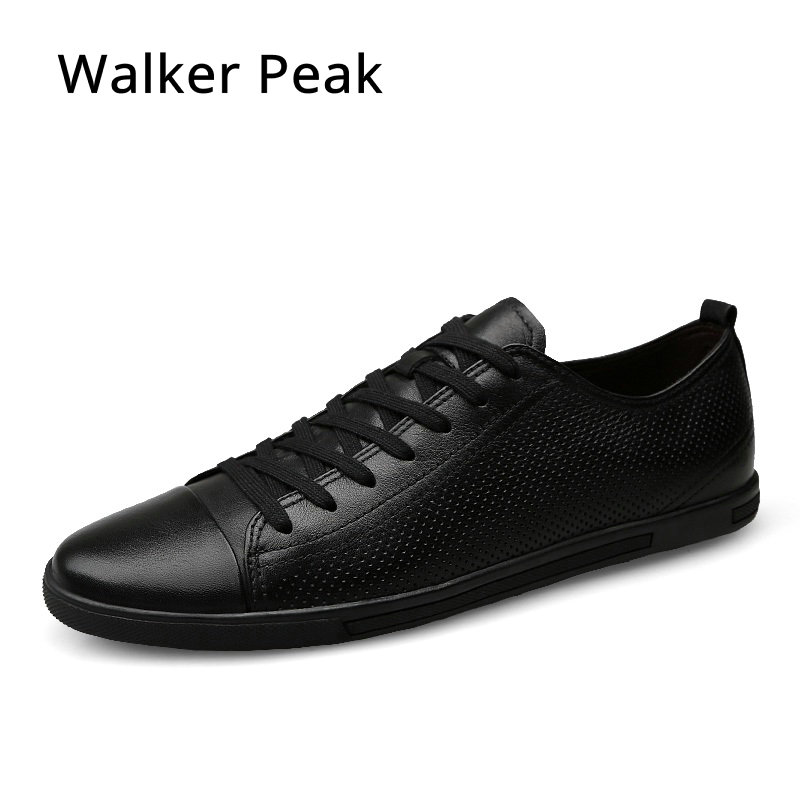 Genuine Leather Men Casual Shoes, Luxury Brand designer Flats Lace up Black Shoes for Mens Loafers Driving Shoes Big size 36-46